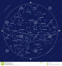 Constellations Map Sky Map And Constellations With Titles Royalty Free Stock Image