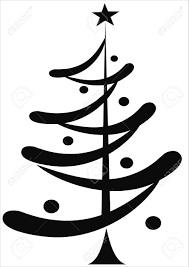 black christmas tree isolated on white royalty free cliparts