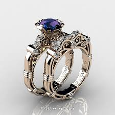 engagement rings awesome vintage amethyst art masters caravaggio 14k rose gold 1 0 ct alexandrite diamond