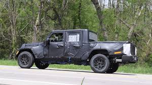 jeep truck 2018 spy photos jeep wrangler pickup spied up close riding high