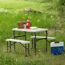 Portable Folding Picnic Table Lifetime 80373 Portable Folding Picnic Table And Bench Set Almond