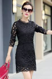 jhonpeter women round neck collar long sleeves lace shift dress
