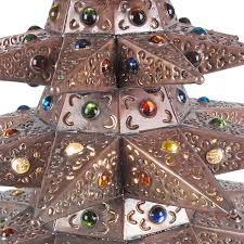 Lighted Christmas Star Ornaments by Small Aged Tin Star Lighted Christmas Tree With Marbles