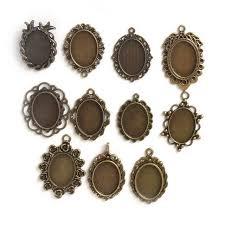 necklace pendants charms images Fashion antiqued bronze necklace pendant charm setting cabochon jpg