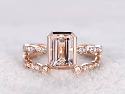 open wedding band 2pc 6x8mm morganite engagement ring set gold diamond wedding