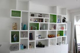 decorations artistic fully varnished white wooden bookshelves