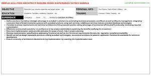 Sample Architect Resume by Solution Architect Job Title Docs