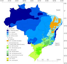 Map Of The Amazon River Climate Classification For Brazil According To The Köppen