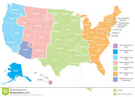 North American Time Zones Map by Ontimezone Com Time Zones For The Usa And North America In United