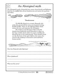 3rd grade reading writing worksheets reading comprehension myth