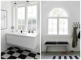 Black And White Checkered Tile Bathroom White Wall Paint Glass Window Panel With Muntins Black And White