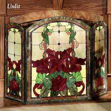 yvette decorative floral stained glass fireplace screen