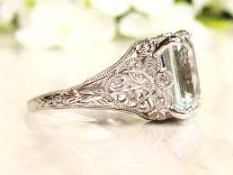 emerald antique rings images Vintage aquamarine engagement ring 3 79ct emerald cut aquamarine jpg