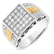 mens engagement ring men s ring with 1 carat tw of diamonds in 10kt yellow white gold