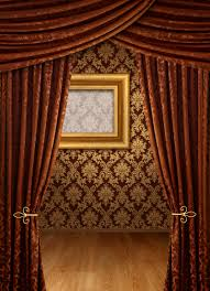 Studio Curtain Background Brown Curtain And Wall Background 27566 Classic Design Material