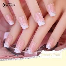 tkgoes 24pcs set acrylic nails 3d false nail full fake nail french