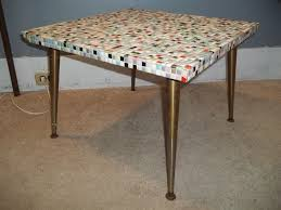 mid century mosaic tile top end table coffee table abstract 1950s