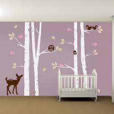 kids nursery birch tree wall decal set owl deer fawn birds zoom