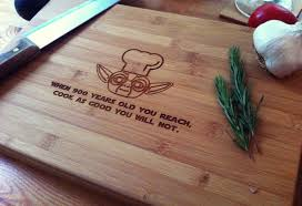 chef yoda personalized cutting board chopping block star
