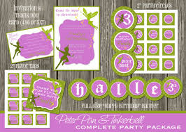 printable kids peter pan and tinkerbell birthday party package