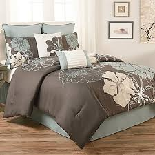 Blue And Brown Bed Sets Grey And Brown Comforter Sets Terra Floral 8 Set In Blue Bed