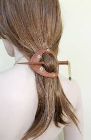 leather hair accessories leather hair stick barrette hair slide hair pin by myfunnysquirrel