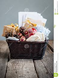 christmas vintage gifts in a basket country style stock photo