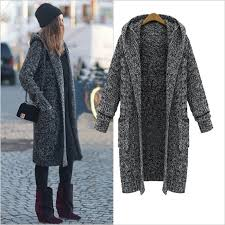 women long sweater hooded thick knitting cardigan sweater coat l