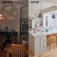 before and after from cramped galley kitchen to supersized extension