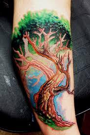 20 tree of tattoos on leg