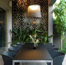 metal blank wall with maple tree patio contemporary and modern