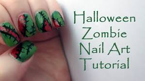 zombie halloween nail art tutorial easy halloween nails youtube