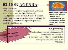 archetypal themes list agenda big questions quick review epithets epic similes