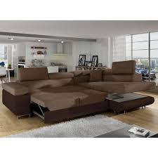 canapé tissu marron d angle antoni avec têtières relevables angle droit simili marron et