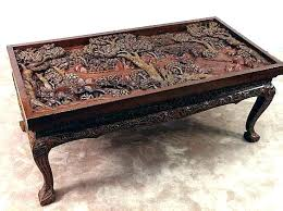 carved wood coffee table carved wood coffee tables hand table s international wooden glass