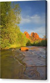 Cathedral Rock Reflections At Sunset Red Rock Crossing Red Rock Crossing Canvas Prints Fine Art America