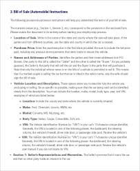 sample automobile bill of sale 6 free sample example format
