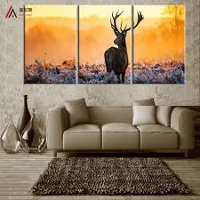 deer head home decor triptych watercolor deer head a4 poster print abstract animal