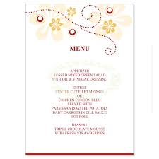 Bridal Shower Menu Template yellow orange wedding menu templates do it