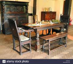 Century Dining Room Tables 17th Century Wooden Dining Table And Room A D Stock Photo