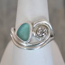 sea glass engagement rings wedding rings murano jewelry wholesale glass ring etsy