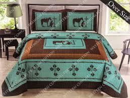 texas cross praying cowboy western quilt bedspread comforter shams