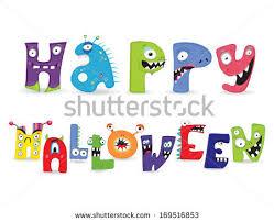 happy halloween monster collection letter vector stock vector