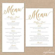 wedding menu cards gold wedding menu card printable wedding menu script diy