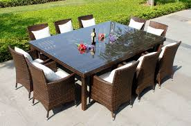 Rattan Patio Dining Set Modern Outdoor Dining Room With 10 Person Wicker Rattan Patio
