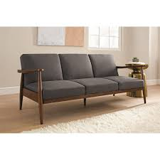 new mod mid century gray linen wood frame futon sleeper sofa bed