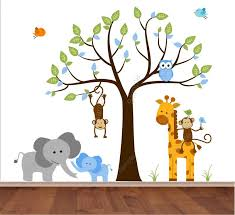 Jungle Wall Decal Tree With Mom And Baby Boy Elephant Monkey - Animal wall stickers for kids rooms