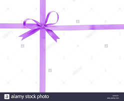 thin ribbon purple thin ribbon with bow cross isolated on white stock photo