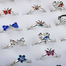 baby girl rings images Wholesale mixed assorted flower gold crystal adjustable rings baby jpg