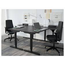 Black Desk Office Bekant Corner Desk Left Sit Stand Black Brown White Ikea